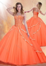 Romantic Sweetheart Brush Train Quinceanera Gowns with Beading