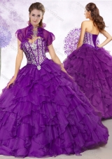 Cheap Ball Gown Purple Quinceanera Gowns with Beading and Ruffles