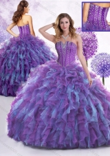 New Style Strapless Beading and Ruffles Sweet 16 Dresses