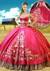 2016 Designer Taffetae Red Quinceanera Gown with Appliques and Beading