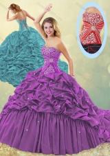 Clearance Big Puffy Brush Train Taffeta Quinceanera Dress in Purple