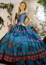 Clearance Off the Shoulder Teal Quinceanera Gown with Beading and Appliques