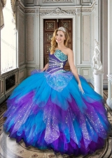 Designer Baby Blue and Purple Sweet 16 Dress with Beading and Ruffles