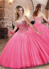 Designer Beaded Bodice Really Puffy Quinceanera Dress in Hot Pink