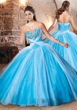 Designer Beaded Bust Baby Blue Sweet 16 Dress in Tulle
