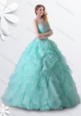 Designer Princess Apple Green Quinceanera Gown with Beading and Ruffles