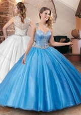 Designer See Through Back Straps Quinceanera Dress with Beaded Bodice