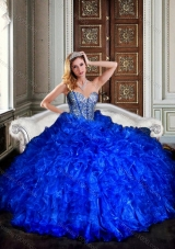 Visible Boning Royal Blue Quinceanera Dresses with Beading and Ruffl