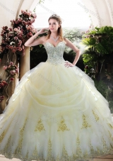2016Custom Designed White Quinceanera Gown with Appliques and Beading