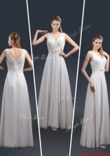 2016 Affordable Empire V Neck Beading Prom Dresses