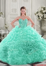 Elegant Visible Boning Organza Apple Green Quinceanera Dress with Chapel Train