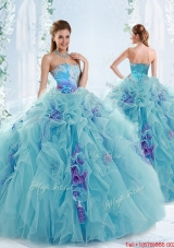 New Style Gorgeous Applique and Ruffled Detachable Quinceanera Dresses in Aqua Blue