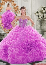 New Style Lovely Puffy Skirt Beaded Bodice and Ruffled Quinceanera Dress in Fuchsia