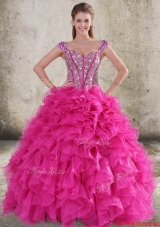 New Style Perfect Ruffled and Beaded Bodice Straps Hot Pink Sweet 16 Quinceanera Dress