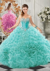 Classical Big Puffy Beaded and Ruffled Designer Quinceanera Gown in Organza
