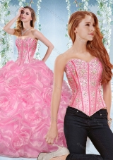 Discount Organza Rose Pink Detachable Quinceanera Gown with Beading and Bubbles