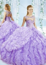 Puffy Skirt Bubble and Beaded Detachable Quinceanera Dress in Lavender