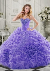 Wonderful Chapel Train Beaded and Ruffled Quinceanera Gown in Lavender