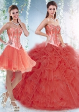 Beautifu Coral Red Detachable New Style Quinceanera Dresses with Beading and Ruffles