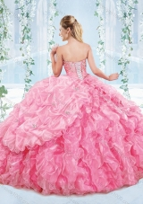 Latest Really Puffy Organza Lace Up Detachable Quinceanera Dress in Blue