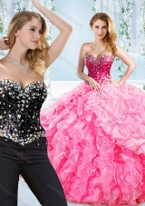 Puffy Skirt Visible Boning Beaded Detachable Quinceanera Gown in Rose