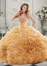 Discount Beaded Bodice and Ruffled Sweet Fifteen Dresses with Chapel Train