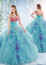 Wonderful Aqua Blue Detachable Sweet Fifteen Dresses with Ruffles and Beading