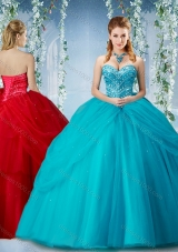 Elegant Beaded and Ruffled Big Puffy Designer Quinceanera Dress in Baby Blue