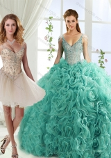Gorgeous Rolling Flowers Deep V Neck Designer Quinceanera Dresses with Cap Sleeves