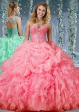 Luxurious Organza Big Puffy Watermelon Designer Quinceanera Dress with Beading and Ruffles