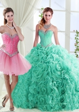 Romantic Rolling Flowers Really Puffy Designer Quinceanera Dresses in with Beading