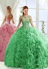 See Through Beaded Scoop Designer Quinceanera Dresses with Rolling Flower