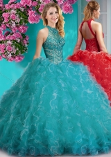 Cheap Halter Top Beaded and Ruffled Designer Quinceanera Dress with Puffy Skirt
