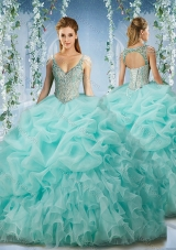 Beaded and Ruffled Aqua Blue Quinceanera Dress with Beaded Decorated Cap Sleeves