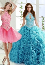 Cut Out Bust Beaded Detachable Quinceanera Gowns in Baby Blue