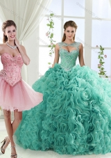 Fashionable Brush Train Detachable Quinceanera Dresses with Beading and Rolling Flower