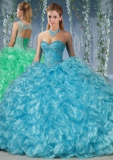 Gorgeous Beaded and Ruffled Big Puffy Quinceanera Dress in Aqua Blue