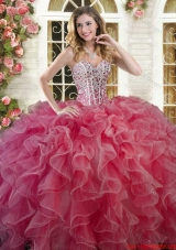 Gorgeous Ruffled and Beaded Bodice Quinceanera Dress in Coral Red