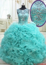 Exquisite See Through Scoop Beaded Quinceanera Dress in Rolling Flowers