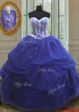 Lovely Beaded and Sequined Blue Quinceanera Dress in Tulle