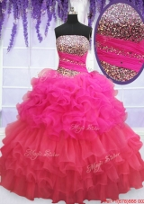 Modest Strapless Beaded Bodice and Ruffled Layers Quinceanera Dress in Two Tone