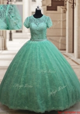 New Style Scoop Zipper Up Laced Quinceanera Dress with Short Sleeves