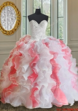 Popular Brush Train White and Coral Red Quinceanera Dress with Beading and Ruffles