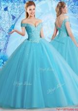 Best Selling Tulle Beaded Sweet 16 Dress in Aqua Blue