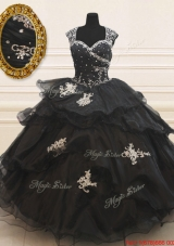 Lovely See Through Back Wide Straps Beaded Applique Black Quinceanera Dress