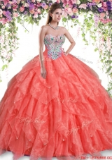 Discount Orange Red Quinceanera Dress with Beading and Ruffles,Silhouette: Ball Gown