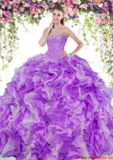 Perfect Organza Two Tone Quinceanera Dress with Beading and Ruffles,Silhouette: Ball Gown