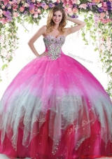 Romantic Big Puffy Tulle Multi Color Quinceanera Dress with Beading,Silhouette: Ball Gown