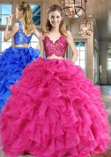 Simple Two Piece Ruffled and Laced Hot Pink Quinceanera Dress in Organza