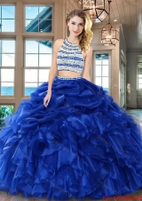 Cheap Beaded Bodice Ruffled and Bubble Quinceanera Dress in Royal Blue